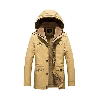 Gmardar メンズ ジャケット 裏ボア フード付き コットン アウトドア カジュアル 無地 保温 通勤 厚手 秋 冬 冬服