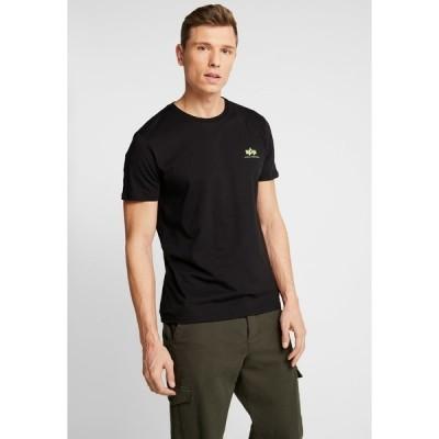 アルファインダストリーズ Tシャツ メンズ トップス Print T-shirt - black/neon yellow