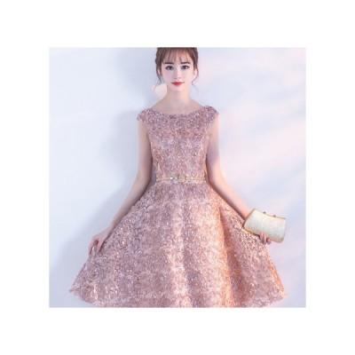 パーティードレス 膝丈スカート フレアスカート 半袖 シンプル セクシー 大人 レディース ワンピース 結婚式 二次会 お呼ばれドレス kh-0163