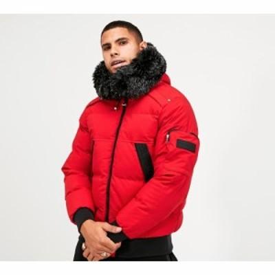 グロリアスギャングスタ Glorious Gangsta メンズ ブルゾン ミリタリージャケット アウター rivoli mesh fur bomber parka Red