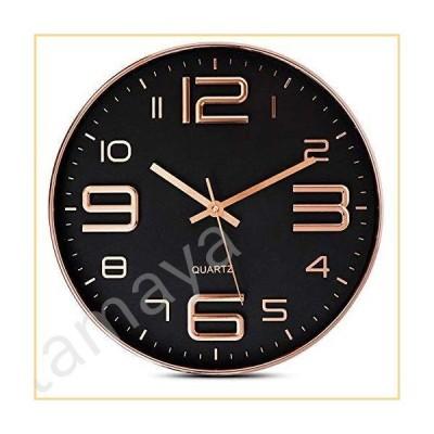 Bernhard Products 壁掛け時計 ブラック 12インチ ローズゴールド 静音 カチカチ音なし 高品質クォーツ 電池