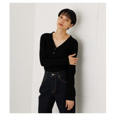 (AZUL by moussy/アズールバイマウジー)SNOWY HENLEY NECK KNIT TOPS/レディース BLK