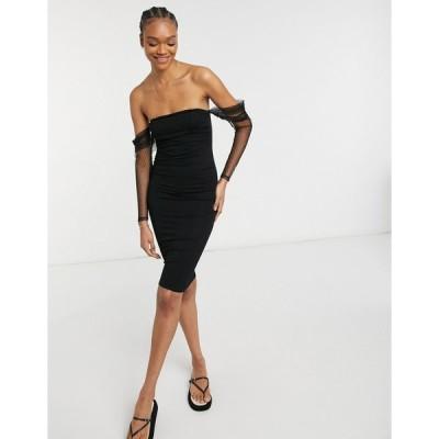 エイソス ミディドレス レディース ASOS DESIGN dobby mesh bardot sleeves corset midi in black エイソス ASOS