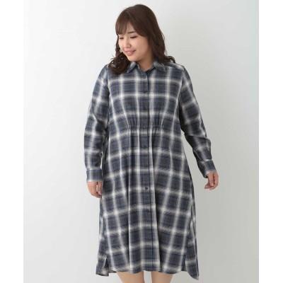 【エウルキューブ】 オーバーチェックシャツワンピース レディース ネイビー 13 eur3( 大きいサイズ)