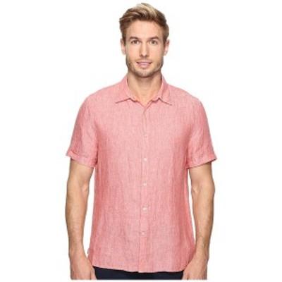 ペリーエリス メンズ シャツ トップス Short Sleeve Solid Linen Shirt Mineral Red