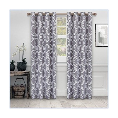 """Superior Ribbon Collection Quality Soft, Insulated, Thermal, Woven Blackout Grommet Printed Curtain Panel Pair (Set Of 2) 52"""" x 84"""" - Silver並行輸"""