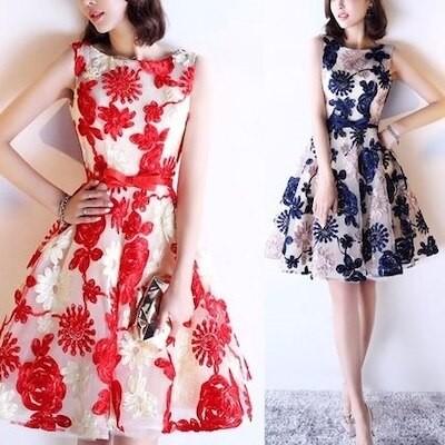 韓国ファッション 韓国 ワンピース ワンピースドレス パーティードレス 結婚式 シースルー フォーマル 大きいサイズ お呼ばれ マタニティ 20代 30代 レディース 二次会 ノースリーブ 膝丈 ひざ