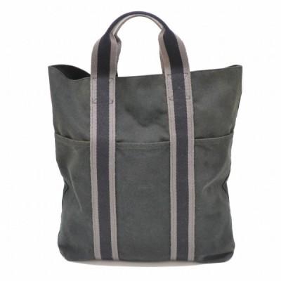本物 HERMES エルメス エールライン フールトゥ カバス トートバッグ ハンドバッグ ビジネスバッグ 書類鞄 キャンバス 布 ブラック 黒 中古