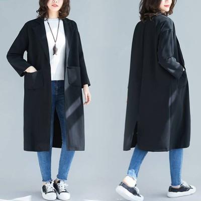 スプリングコート トレンチコート レディース フード付き ロングコート 春秋 カジュアル コーディガン ゆったり ジャケット 大きいサイズ アウター