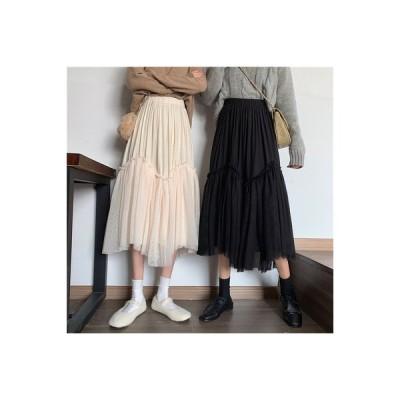 【送料無料】スカート 秋冬 女 韓国風 ハイウエスト 着やせ 裾 息子 + メッシュ | 364331_A63991-9648625