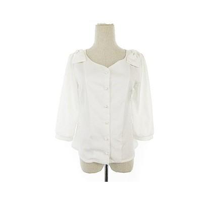 【中古】トッコ TOCCO シャツ ブラウス 七分袖 リボン M 白 ホワイト /AAM15 レディース 【ベクトル 古着】