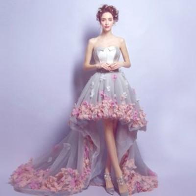花嫁 ウェディングドレス 花ロングドレス 演奏会 結婚式 二次会 披露宴 パーティードレス お呼ばれワンピ