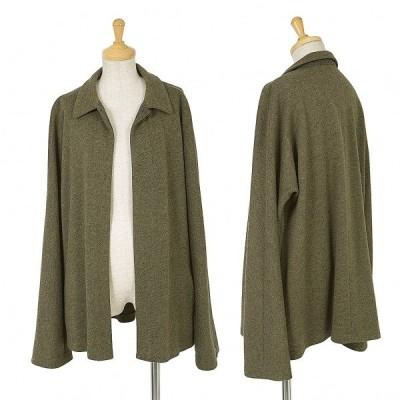 ワイズY's ボタンレスウールニットシャツジャケット 杢カーキ4 【レディース】