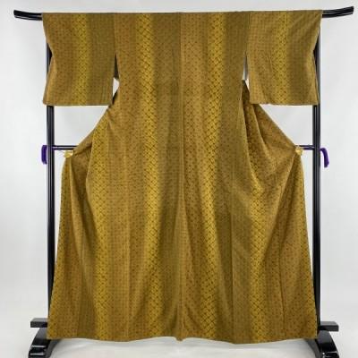 小紋 美品 名品 やまと 絞り 縦ぼかし 茶色 袷 身丈161cm 裄丈68.5cm L 正絹 【中古】