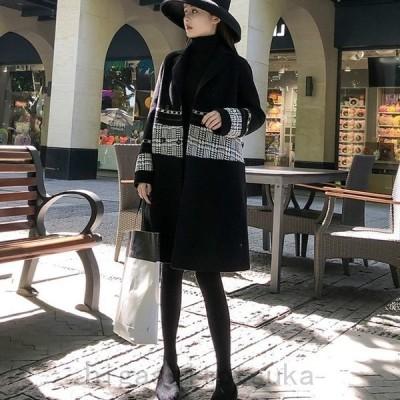 レディースアウターコートチェスターコート千鳥柄長袖無地秋冬ゆったりファッション
