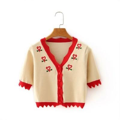秋新作 レディースカーディガン 半袖 刺繍入り 袖・襟・裾切替 フリーサイズ