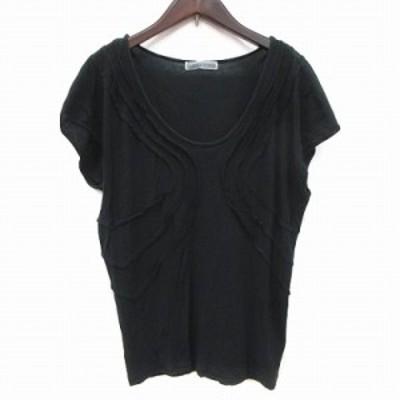 【中古】ツモリチサト TSUMORI CHISATO Tシャツ カットソー フレンチスリーブ Uネック 2 黒 ブラック /CT レディース
