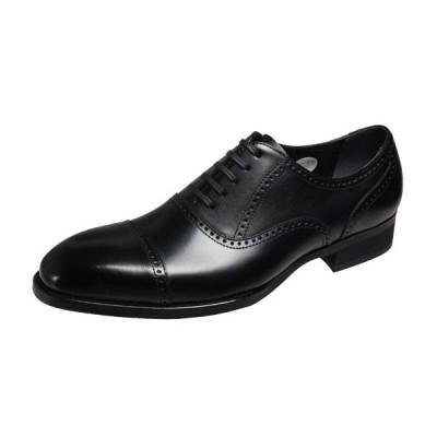 エルオムメンズシューズ7205ブラックストレートチップビジネスシューズ本革紳士靴