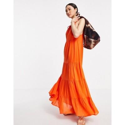 エイソス ASOS DESIGN レディース ワンピース Aライン ワンピース・ドレス tiered halter neck maxi dress in orange ブライトオレンジ