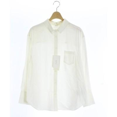 【中古】未使用品 ミラオーウェン Mila Owen 19SS シャツ 長袖 1 白 ホワイト /MR37 レディース 【ベクトル 古着】