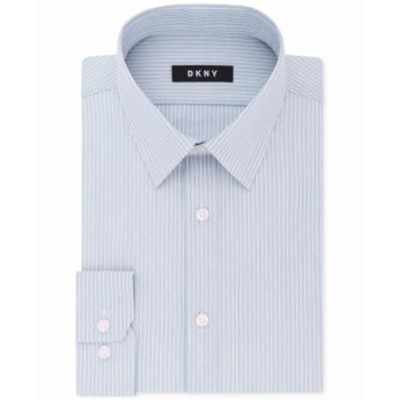 CLOUD クラウド ファッション ドレス DKNY Mens Dress Shirt Cloud Blue Size 17 Striped Slim Fit Stretch