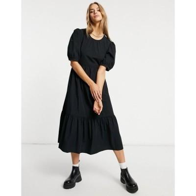 ウエアハウス レディース ワンピース トップス Warehouse tiered cotton midi dress in black Black