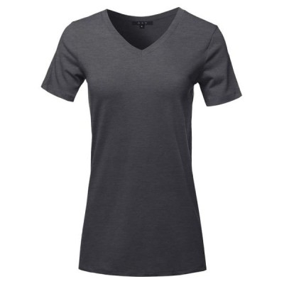 レディース 衣類 トップス A2Y Women's Basic Solid Premium Cotton Short Sleeve V-neck T Shirt Tee Tops Charcoal S ブラウス&シャツ