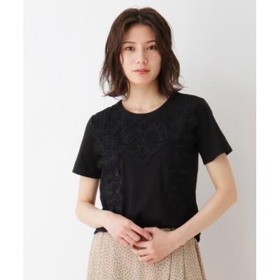 (SHOO・LA・RUE/シューラルー)フロントレースTシャツ/レディース ブラック(019)