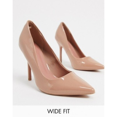 エイソス レディース ヒール シューズ ASOS DESIGN Wide Fit Phoenix pointed high heeled court shoes in beige patent