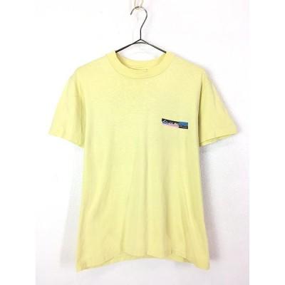 古着 90s USA製 Quik Silver ロゴ ワンポイント 両面 プリント オールド サーフ 100%コットン Tシャツ M 古着