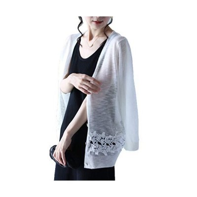 [フレンチパヴェ] 裾に咲く花レースラインのショートカーディガン レディース サマーニット 刺繍 レース 薄手 ゆったり