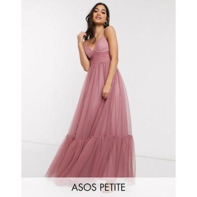 エイソス ミディドレス レディース ASOS DESIGN Petite exclusive cami spot tulle mesh pep hem maxi dress in rose エイソス ASOS