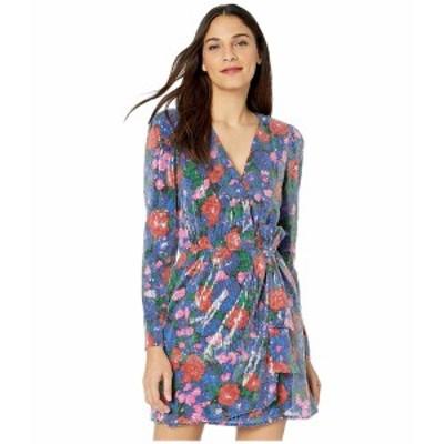 ワイフ レディース ワンピース トップス Mylene Mini Wrap Dress Cobalt Floral Sequins