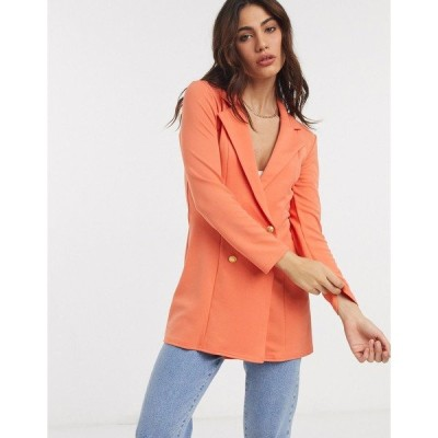 エイソス レディース ジャケット&ブルゾン アウター ASOS DESIGN Hourglass glam double breasted jersey blazer in orange Orange