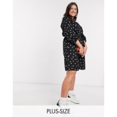 ニュールック レディース ワンピース トップス New Look Curve poplin belted smock dress in polka dot Black pattern
