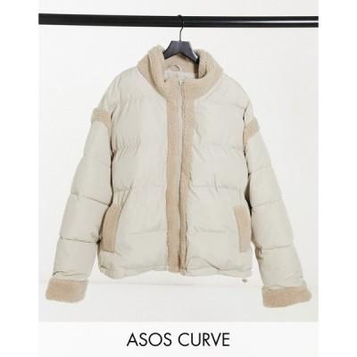 エイソス ASOS Curve レディース ダウン・中綿ジャケット アウター Curve borg panelled puffer jacket in cream クリーム