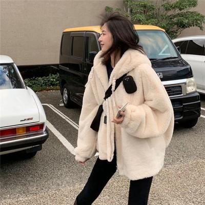 ファーコート レディース ブルゾン アウター ジップアップパーカー フェイクファー ファージャケット 厚手 もこもこ 韓国風 秋冬 送料無料