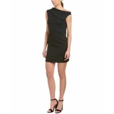 Helmut Lang ヘルムートラング ファッション ドレス Helmut Lang Asymmetrical Cowl Wool-Blend Sheath Dress 6 Black