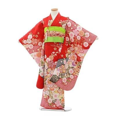 七五三 レンタル 着物 (7歳 女の子結び帯)7796 赤地にぼたん(正絹)