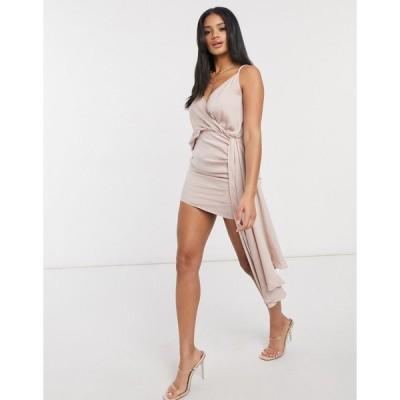 アイソウイット ミディドレス レディース I Saw It First asymmetric satin drape dress in pink  エイソス ASOS sale ピンク