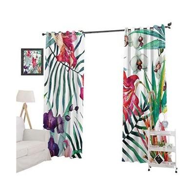 カーテン YUAZHOQI Blackout Curtain Panel Tropical Wild Orchid Flowers with Palm Leaves Print Exotic Style Nature Artwork, Curtains and D
