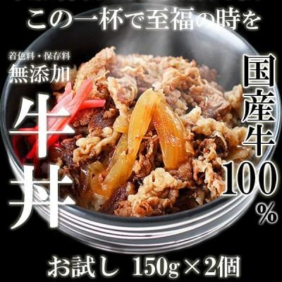肉 牛肉 惣菜 レトルト 冷凍 無添加 国産牛 100% 牛丼の具 150g×2パック 牛丼 お弁当 おかず グルメ お試し