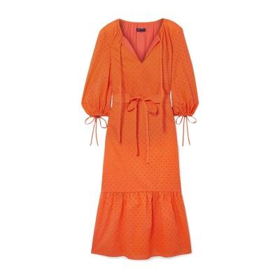 MARK D. SIKES 7分丈ワンピース・ドレス オレンジ 4 コットン 100% 7分丈ワンピース・ドレス