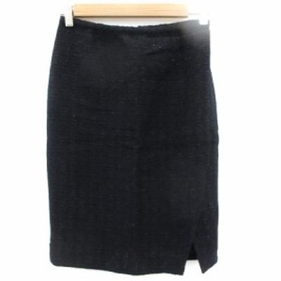 【中古】エストネーション ESTNATION スカート タイト ひざ丈 ツイード 36 紺 ネイビー 黒 ブラック /SM46 レディース