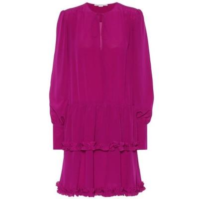 ステラ マッカートニー Stella McCartney レディース ワンピース ワンピース・ドレス Long-sleeved silk minidress Purple