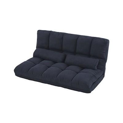 ぼん家具 ソファベッド セミダブル 折りたたみ リクライニング 3WAY スエード調 ネイビー