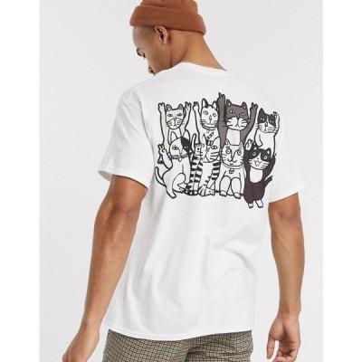 ニューラブクラブ New Love Club メンズ Tシャツ トップス cat print graphic t-shirt in oversized ホワイト