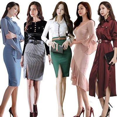 高品質 韓国ファッション OL、正式な場合、礼装ドレス セクシーなワンピース、一字肩 二点セット、側開、深いVネック やせて見える、ハイウエ