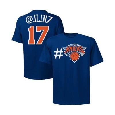 バスケットボール NBA アメリカ USA 全米  マジェスティック Majestic Jeremy Lin New York Knicks #17 Twitter T-Shirt - Royal Blue