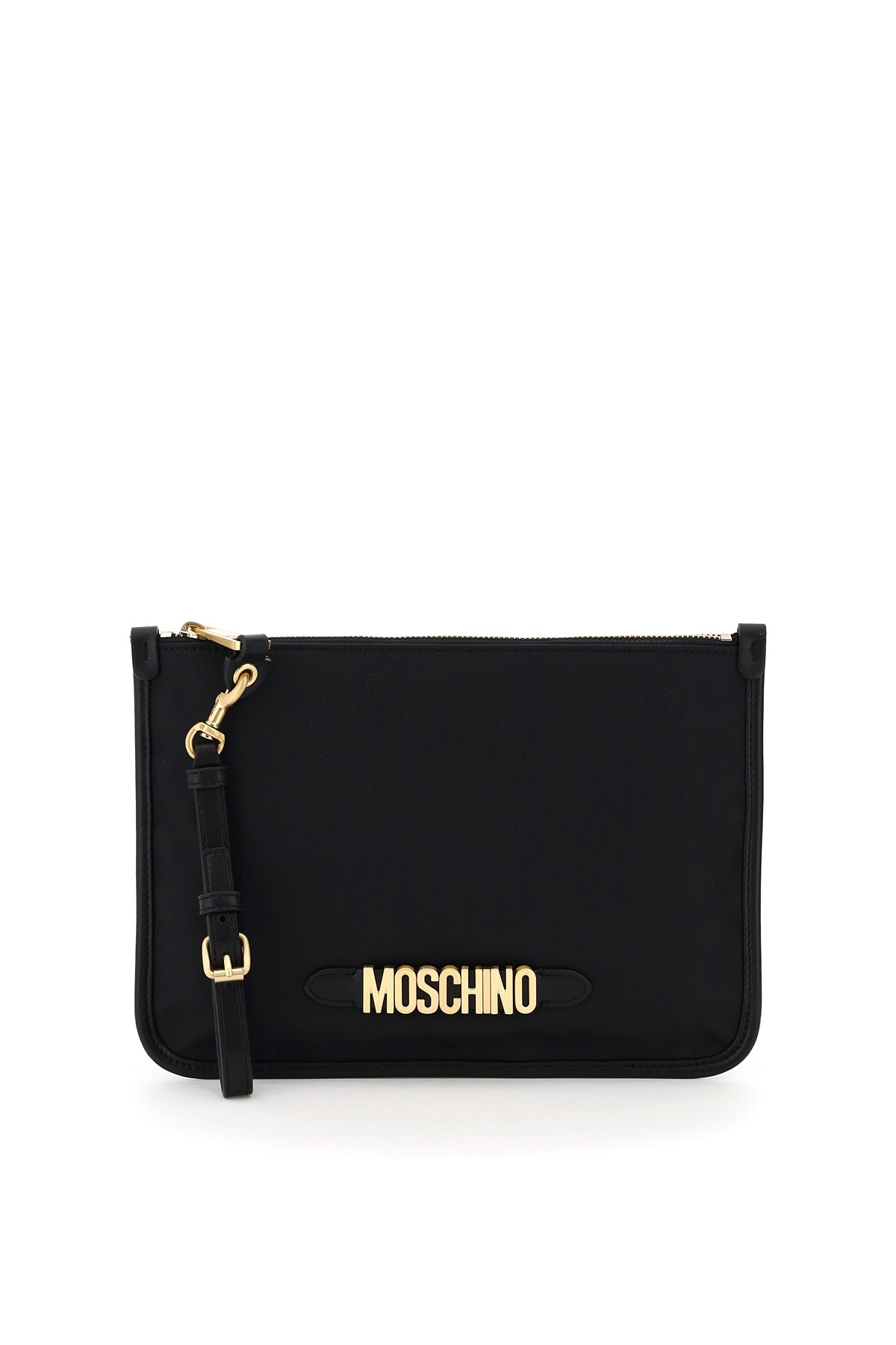 MOSCHINO FABRIC POUCH MOSCHINO LETTERING OS Black Technical, Leather, Cotton